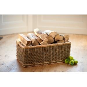 Medium Size Dark Wicker Rectangular Log / Toy Basket