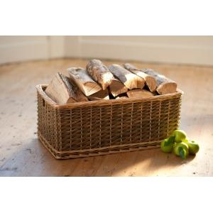 Small Dark Wicker Rectangular Log / Toy Basket